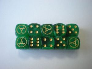 Skaven Dice. there were also, Empire Dice, Dark Elf Dice & Lizardmen Dice. They were manufactured in the UK at http://www.dice.co.uk