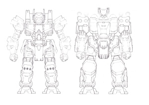 A family portrait of different Mecha.